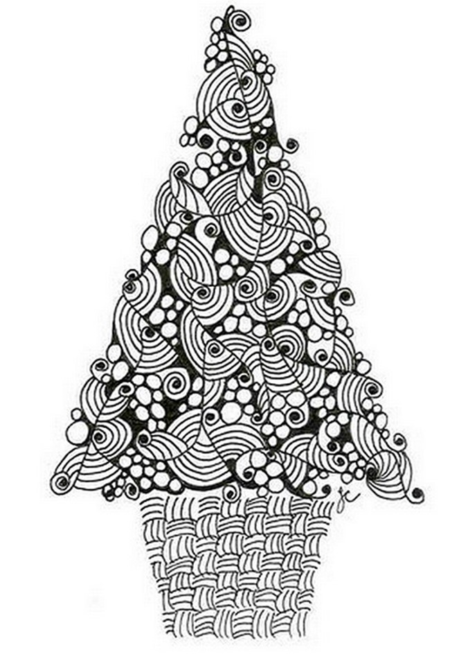 21 Christmas Printable Coloring Pages | christmas tree coloring pages for adults