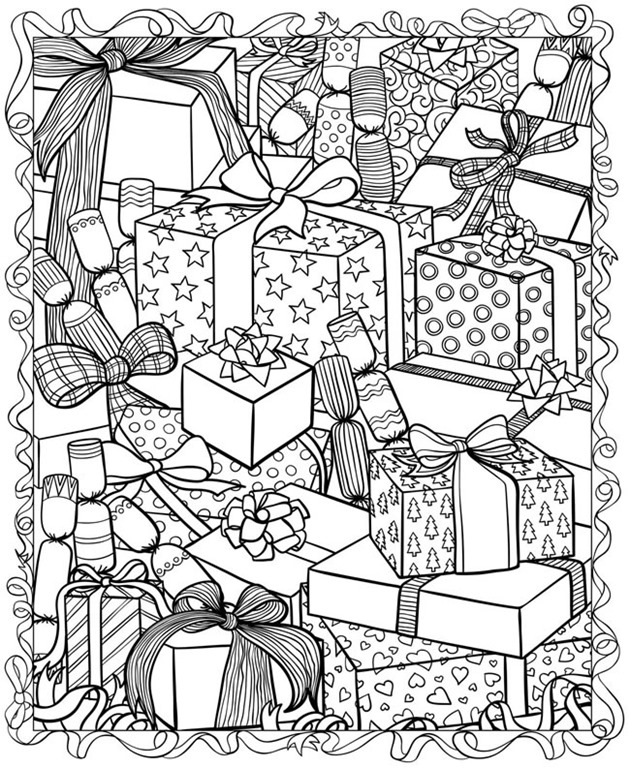 christmas coloring pages for adults presents dover publishing