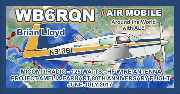 Brian Lloyd, WB6RQN QSL Card - Around the World