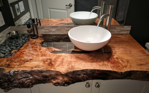 Stone Glass Epoxy Live Edge Wood Sink