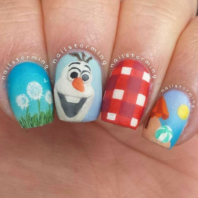 Disney Olaf Design Nails