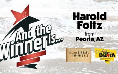Harold Foltz from Peoria, AZ is our December Kimball Popcorn Ball Winner!