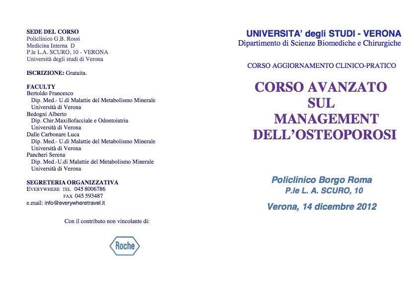 CORSO AVANZATO SUL MANAGEMENT DELL'OSTEOPOROSI