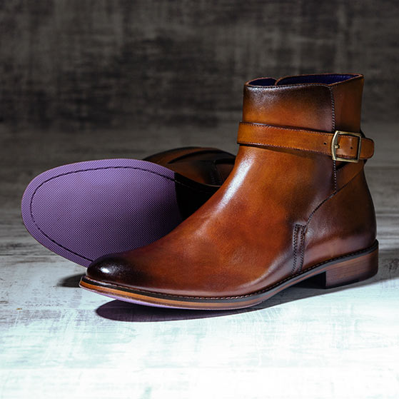 Burnished Tan Italian Leather Strapped Boot - Javelin 2