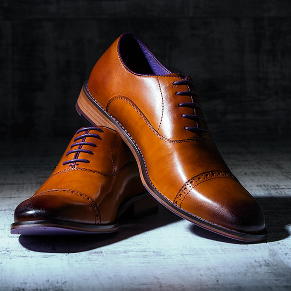 Fine Tan Italian leather Oxford with burnished detailing - Bristol 3