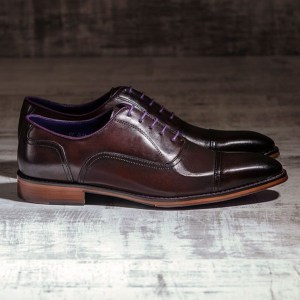 Dark Brown Oxford Burnished Italian Leather - Falcon 1