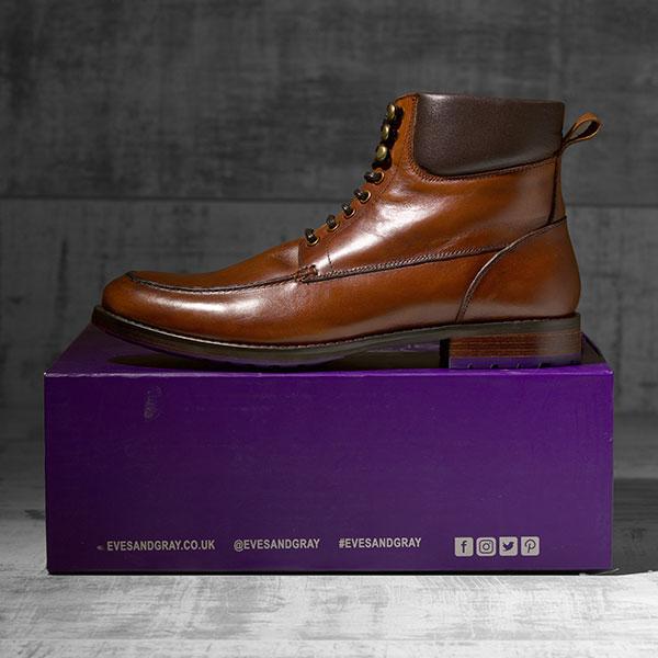 Dark Tan Italian leather Ankle Boot - Bison 1