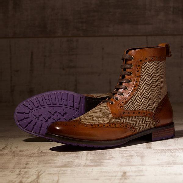 Burnished Tan Italian leather with Tweed Panels - Lerwick 2