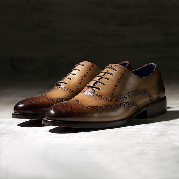 Fine Italian leather Brogue in burnished Tobacco - Lincoln 3