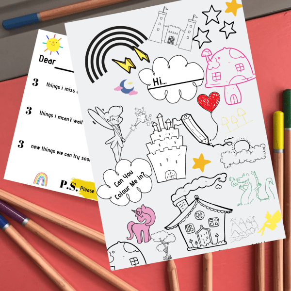 Kids colouring activity postcard for lockdown