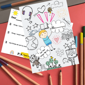 Boy Kids colouring activity postcard for lockdown