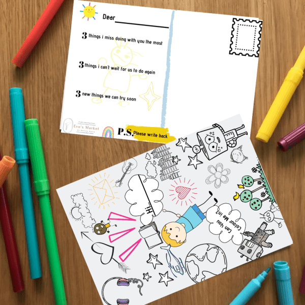 Kids colouring activity postcard for gifts and lockdown