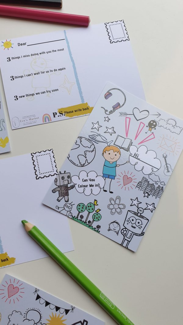 Kids colouring activity postcard for lockdown homeschool