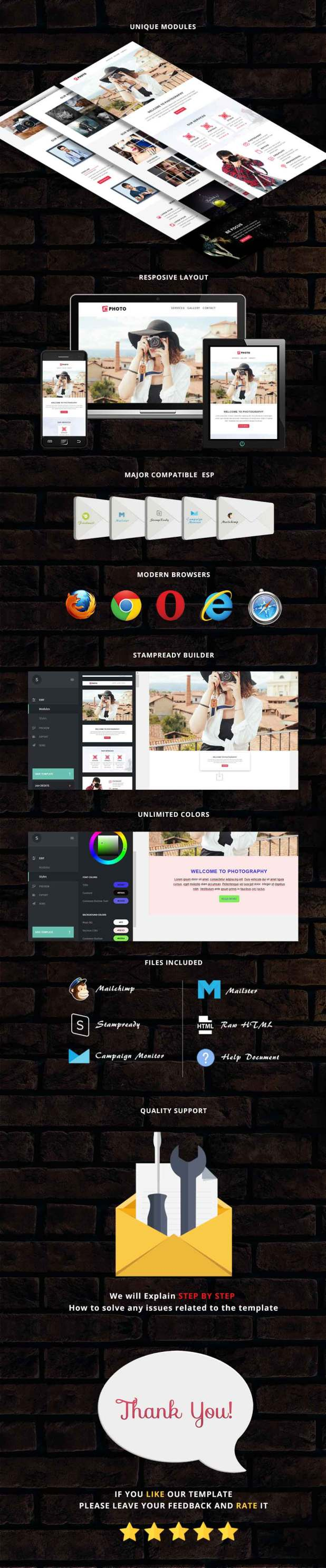 Photo - Responsive Email Template + Stampready Builder