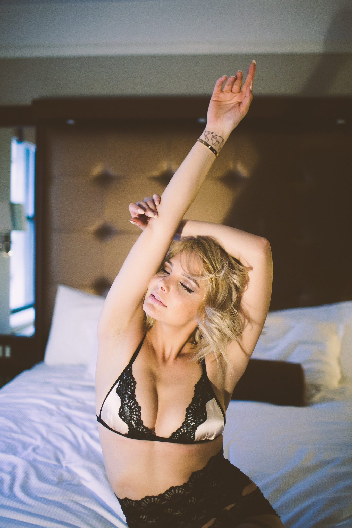Model stretching before getting out of bed