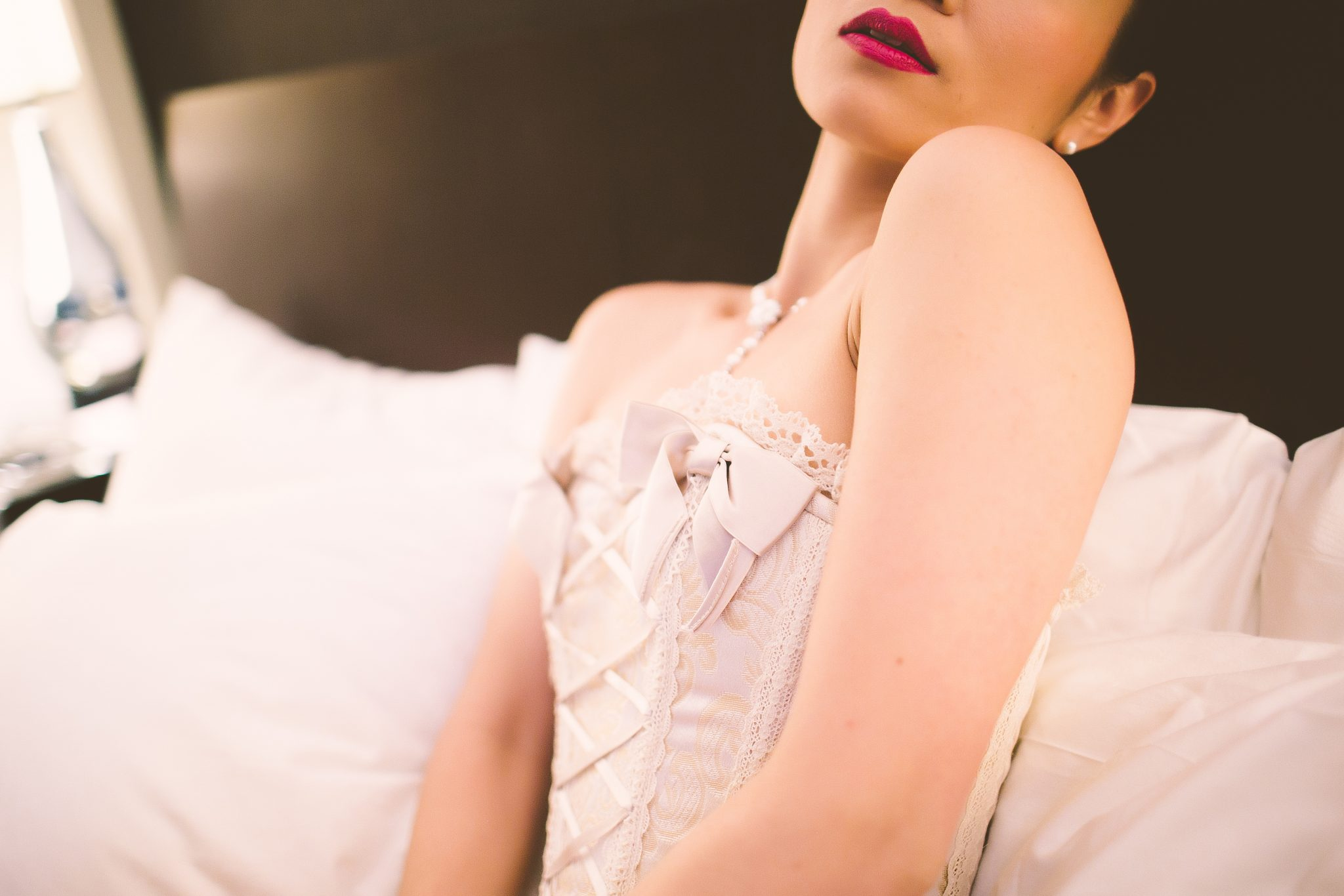 An up close shot of a model for a professional boudoir album