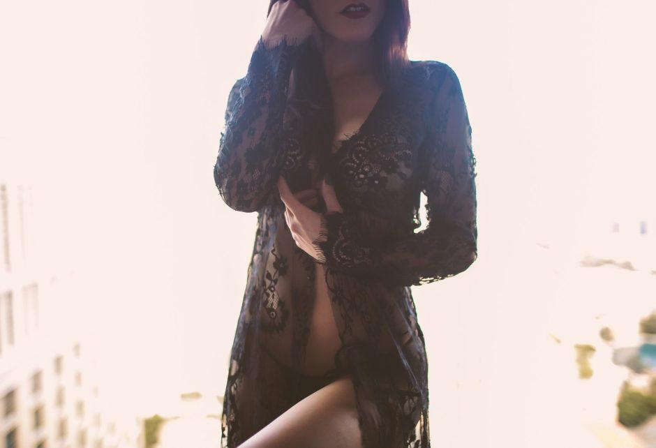 Wearing beautiful lace lingerie