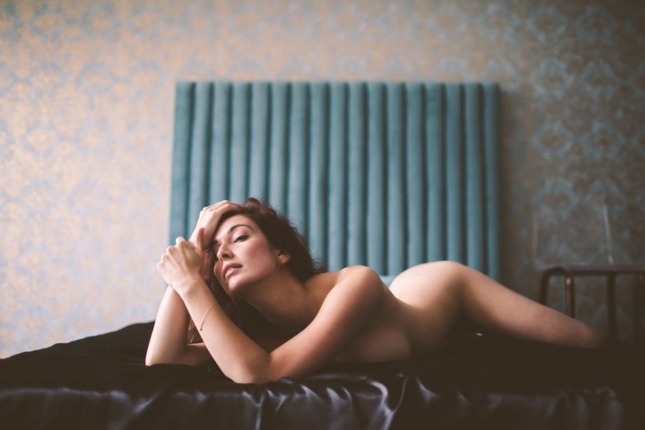 a woman at a nyc boudoir shoot