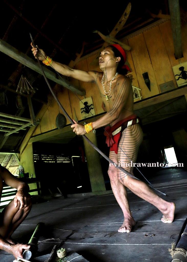 Aman Gotdai memperlihatkan cara menekuk busur panah