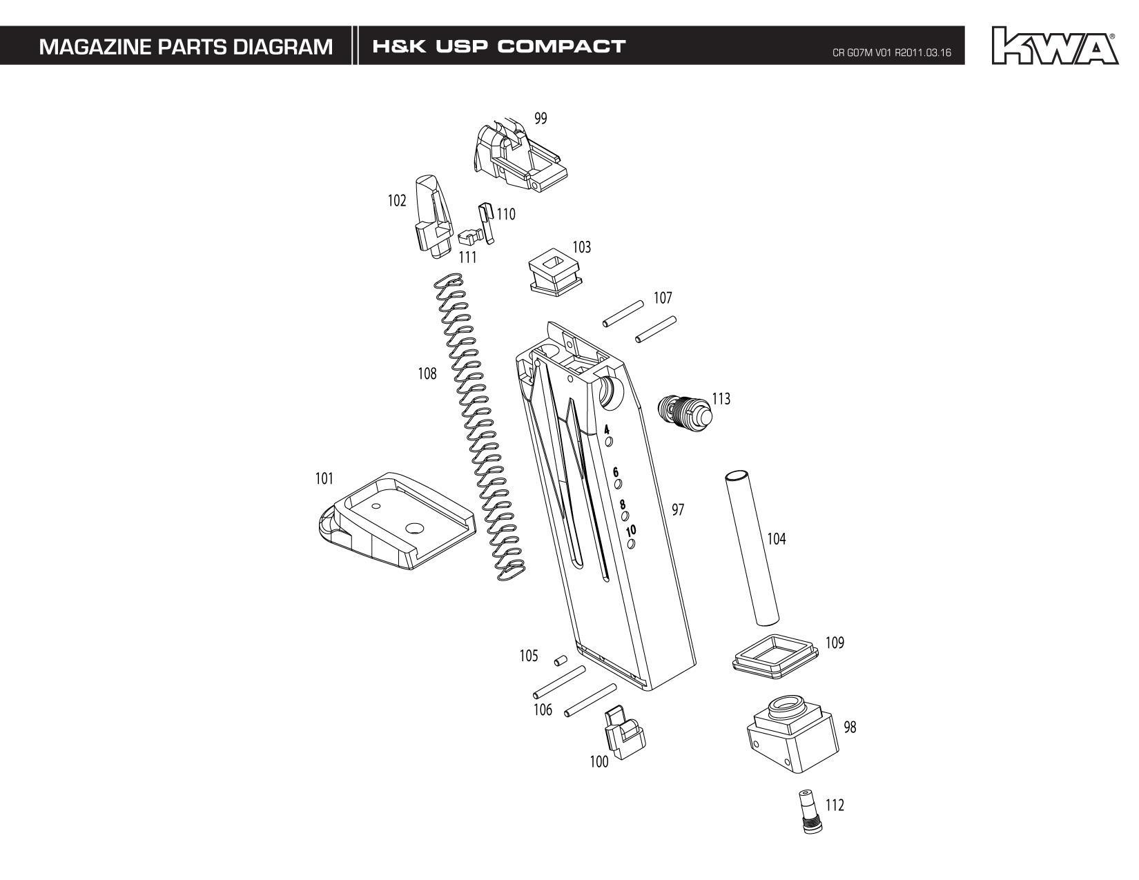 Z Heckler Amp Koch Umarex Full Metal Usp Compact Tactical Ns2 Airsoft Gas Blowback Gun By Kwa