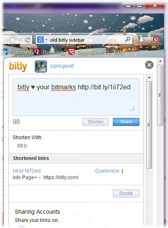 Sharing With The Bitly Sidebar (1/2)