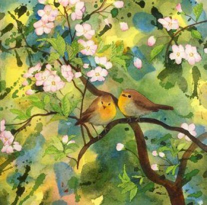 idillio sull albero in fiore