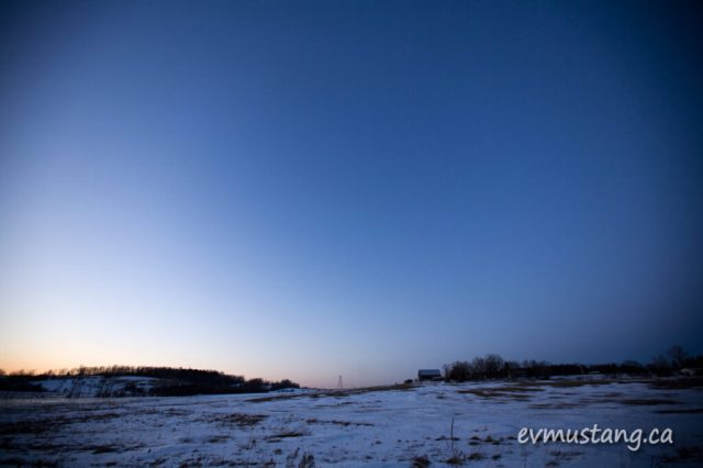 image of country field at twilight in winter