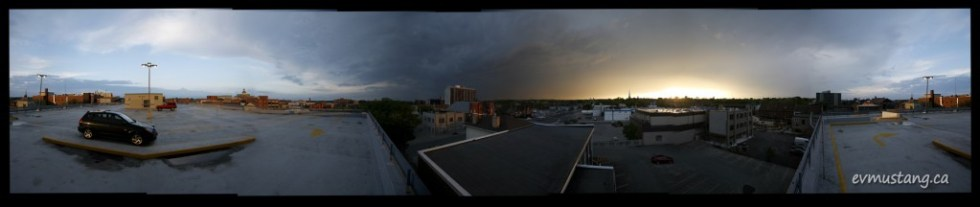 image of downtown Peterborough, Ontario under a storm