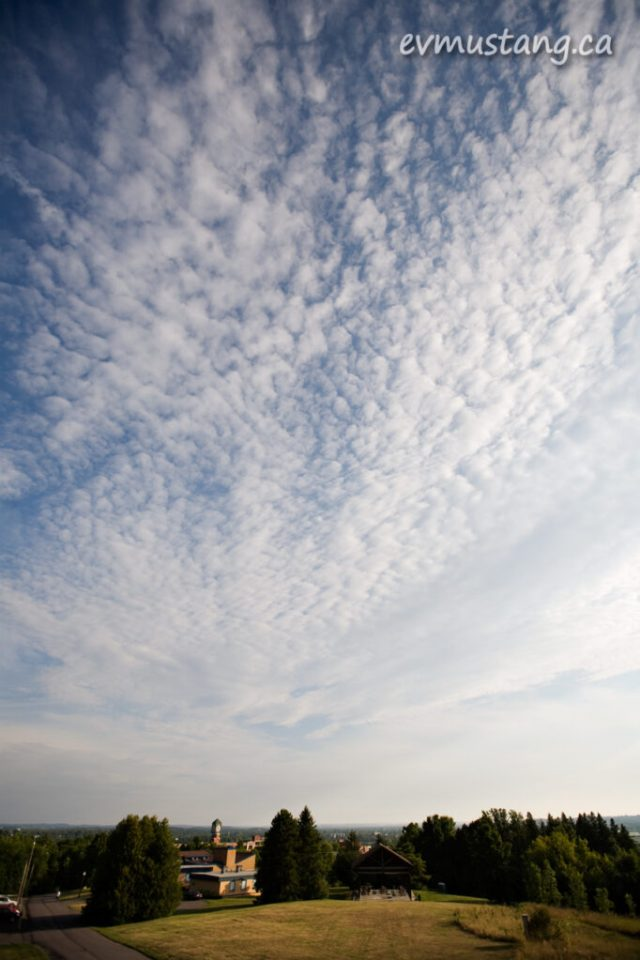 image of clouds over the Peterborough Museum