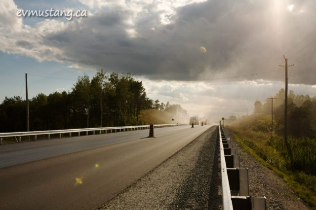 image of paving construction on highway 7, Peterborough