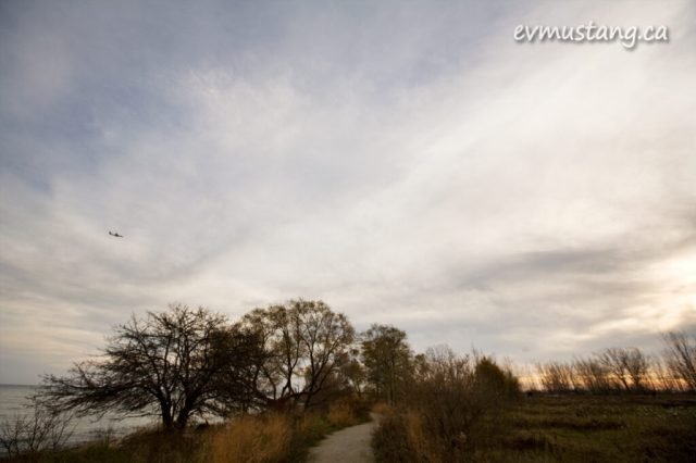 image of airplane over leslie spit