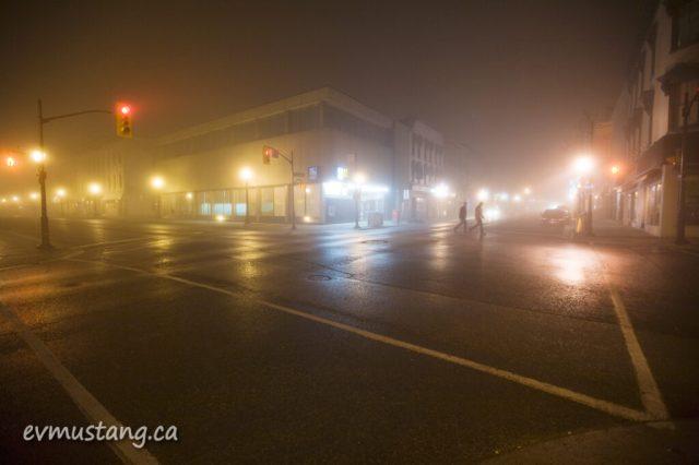 image of street corner in fog