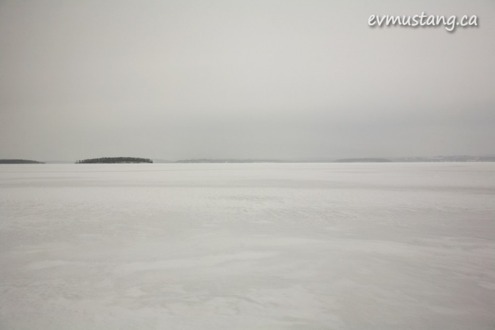 rice lake frozen over in winter