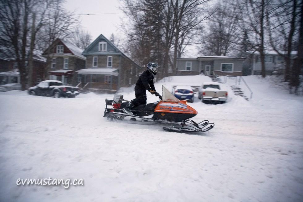 image of snowmobile on bethune street