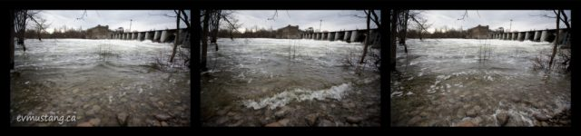 tryptych showing high water at the london street dam, peterborough