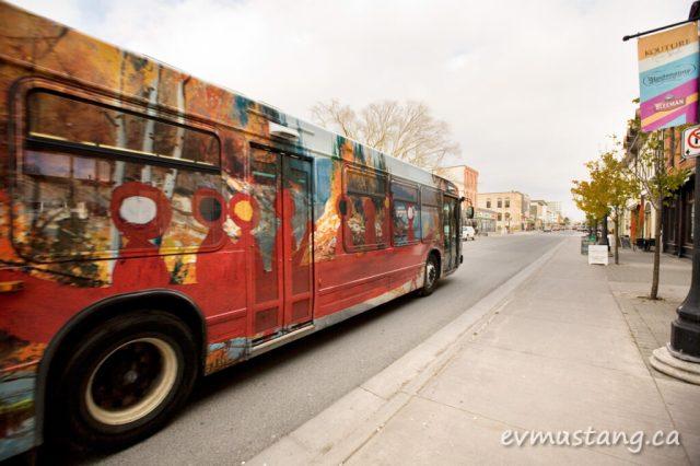 image of the artspace art is everywhere bus on hunter street, peterborough
