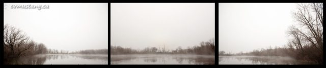 panoramic triptich of fog over pond in winter