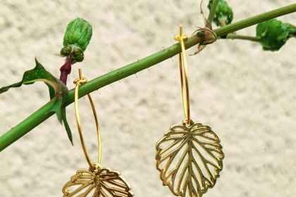 Petites créoles dorées feuilles evolbijoux (2)