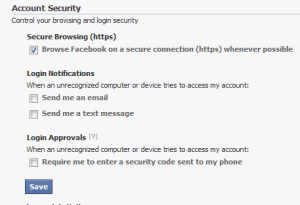 Facebook Enable HTTPS as default.