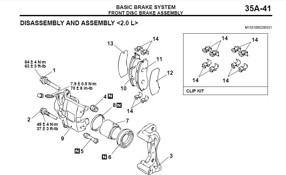 Front Brake Caliper Diagram