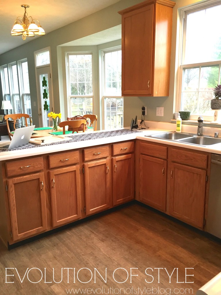 Painted oak kitchen before