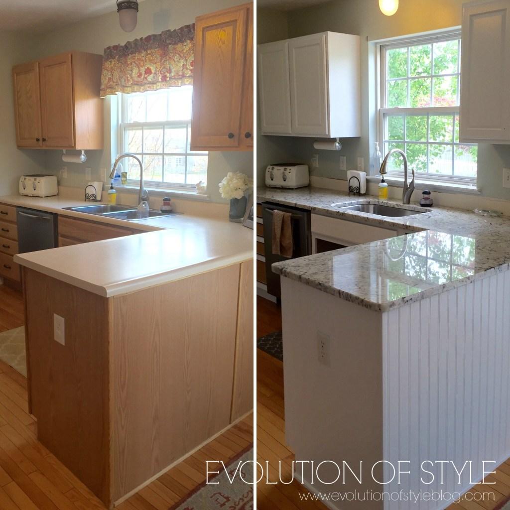 Oak kitchen before-after