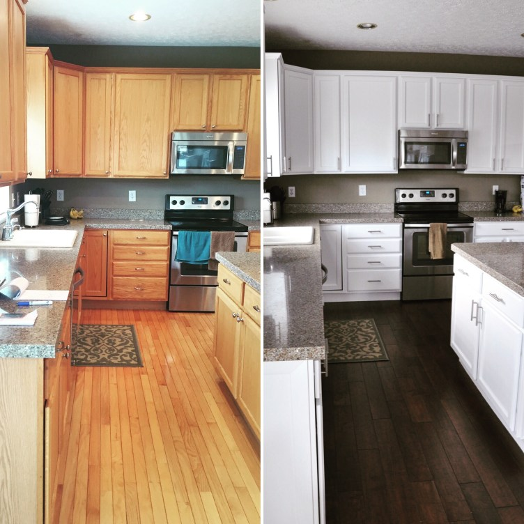 Painted Wood Kitchen Cabinets: Painting Oak Kitchen Cabinets Before And After