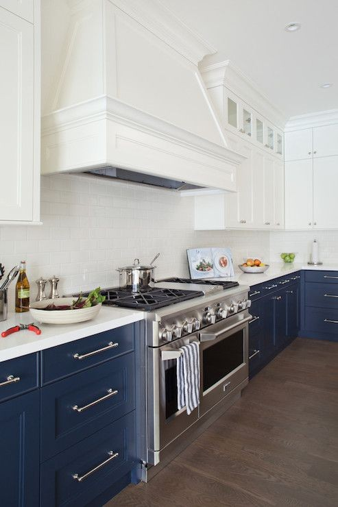 Two toned navy and white kitchen