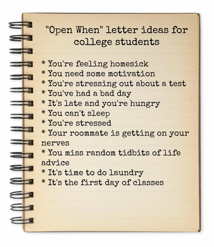 Open When Letter Ideas for College Students