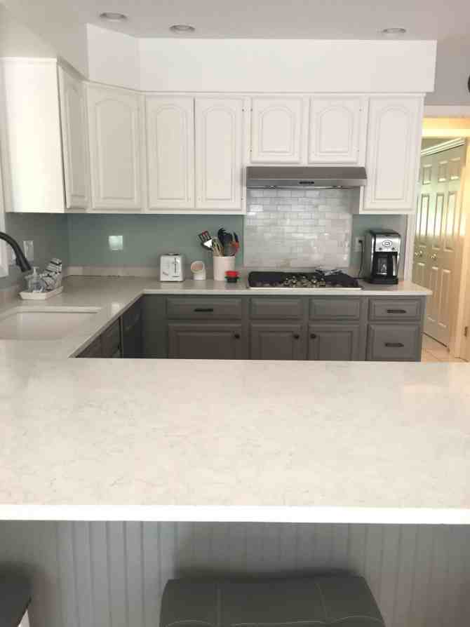 Two Toned Gray and White Kitchen Cabinets