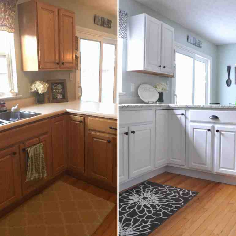 How to Paint Kitchen Cabinets Video Series Before-After