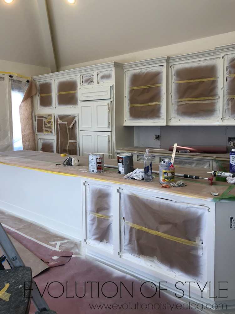 Spraying Cabinets - Huge Kitchen Transformation