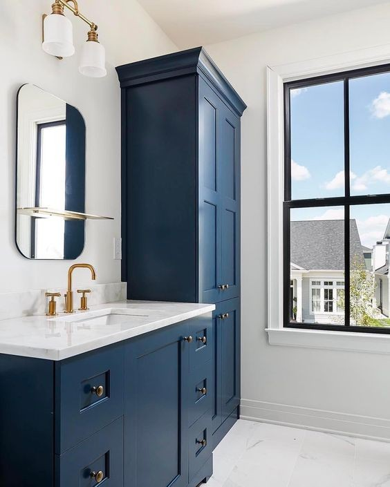 Blue Bathroom Vanity with Gray Walls