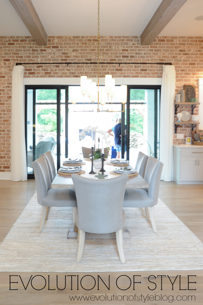 Exposed Brick Wall in Dining Room